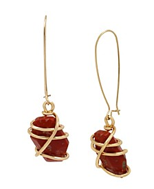 Caged Jasper Stone Long Drop Earrings