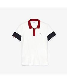 Men's Regular Fit Short Sleeve Jacquard-Pique Striped Colorblock Polo Shirt