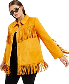 Plus Size Faux-Suede Fringe Jacket, Created for Macy's