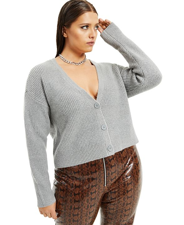 Danielle Bernstein Plus Size Button-Front Cardigan, Created for Macy's
