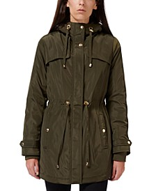 Faux-Fur Lined Hooded Anorak Raincoat