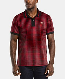 Men's LIVE Short Sleeve Houndstooth Printed Polo Shirt