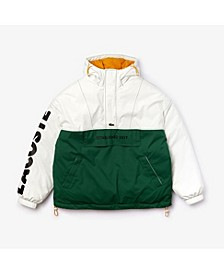 Men's LIVE Long Sleeve Colorblock Parka Jacket with Oversized Lacoste Print