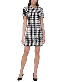 Houndstooth-Print A-Line Dress