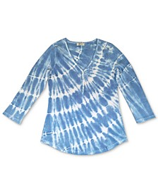 Tie-Dyed Waffle-Knit Henley Top, Created for Macy's