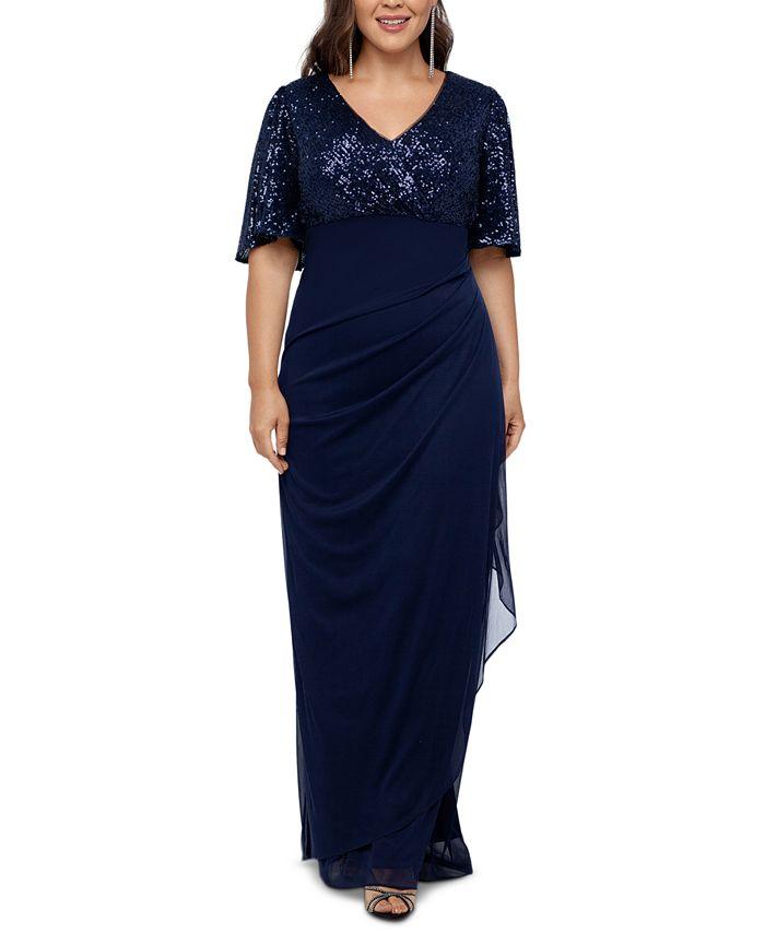 XSCAPE - Plus Size Sequined A-Line Gown