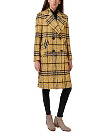 Oversized Double-Breasted Plaid Walker Coat, Created for Macy's