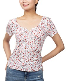 Juniors' Floral-Print Henley-Neck Top