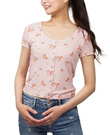 Juniors' Floral-Print Snap-Front Cropped Top