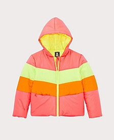 Big Girls Neon Colorblock Puffer Coat