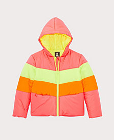 S Rothschild & CO Big Girls Neon Colorblock Puffer Coat