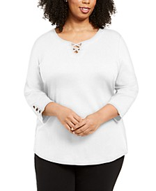 Plus Size Cotton Crisscross Top, Created for Macy's