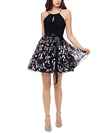 Juniors' Glitter-Skirt Keyhole Dress