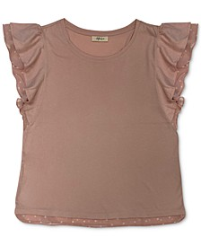 Plus Size Dot-Print-Trim Flutter-Sleeve Top, Created for Macy's