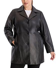 Anne Klein Plus Size Button-Up Leather Jacket