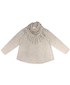 Plus Size Cowlneck Fringed Sweater, Created for Macy's