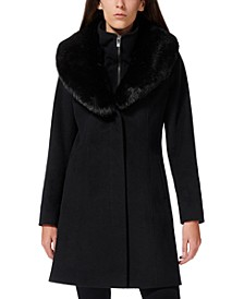 Faux-Fur-Collar Faux-Leather-Trim Coat