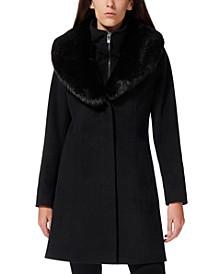 Faux-Fur-Collar Faux-Leather-Trim Coat