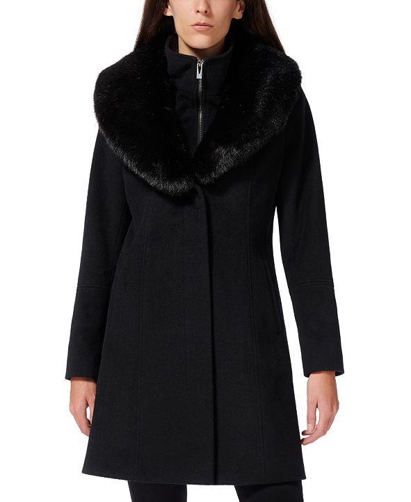 Via Spiga Faux-Fur-Collar Faux-Leather-Trim Coat
