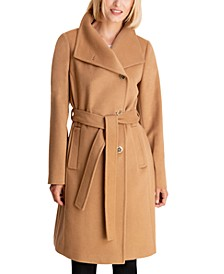 Petite Asymmetrical Belted Coat, Created for Macy's