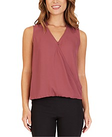 Juniors' Faux-Wrap Top