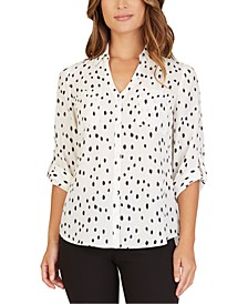 Juniors' Dot-Print Collared Top