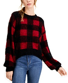 Juniors' Fuzzy Plaid Sweater