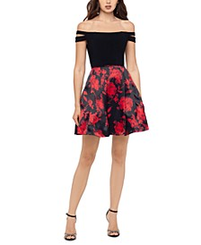 Juniors' Floral-Skirt Off-The-Shoulder Dress