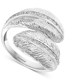 EFFY® Diamond Feather Bypass Ring (1/10 ct. t.w.) in Sterling Silver