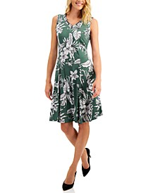 Petite Embellished Printed A-Line Dress, Created for Macy's