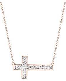 "Crystal East West Cross 18"" Pendant Necklace in 14k Rose Gold-Plated Sterling Silver, Created for Macy's"