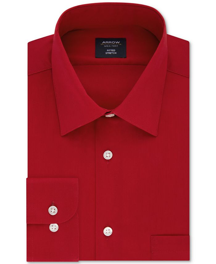 Arrow - Men's Fitted Non-Iron Performance Stretch Solid Dress Shirt