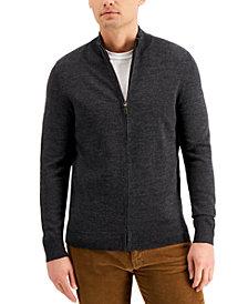 Club Room Men's Merino Zip-Front Sweater, Created for Macy's