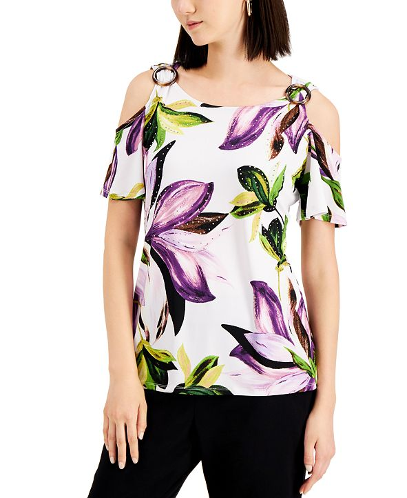 JM Collection Tropical-Print Cold-Shoulder Top, Created for Macy's
