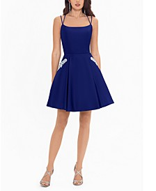 Juniors' Embellished-Pocket A-Line Dress