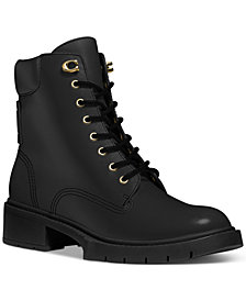 COACH Women's Lorimer Lace Up Lug Sole Combat Booties