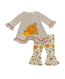 Baby Girls Hachi Top with Pumpkin Applique and Legging Set