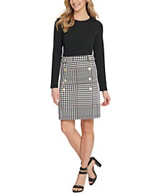 Button-Trim Plaid-Skirt Dress