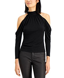 INC Petite Mock-Neck Draped Cold-Shoulder Top, Created for Macy's