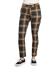 Juniors' Plaid Work Pants