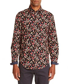 Tallia Men's Slim-Fit Black/Brown Floral Long Sleeve Shirt and a Free Face Mask With Purchase