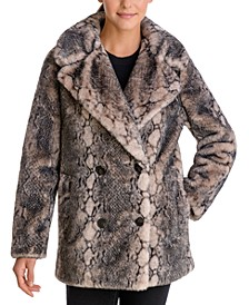 Snake-Embossed Faux-Fur Coat
