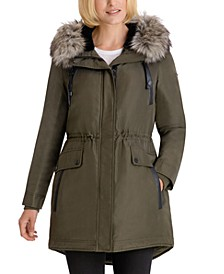 Faux-Fur-Trim Hooded Water-Resistant Anorak