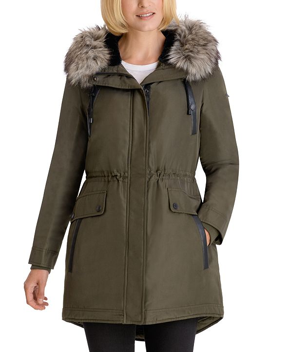BCBGeneration Faux-Fur-Trim Hooded Water-Resistant Anorak