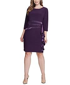 Plus Size Satin-Ruffle Sheath Dress