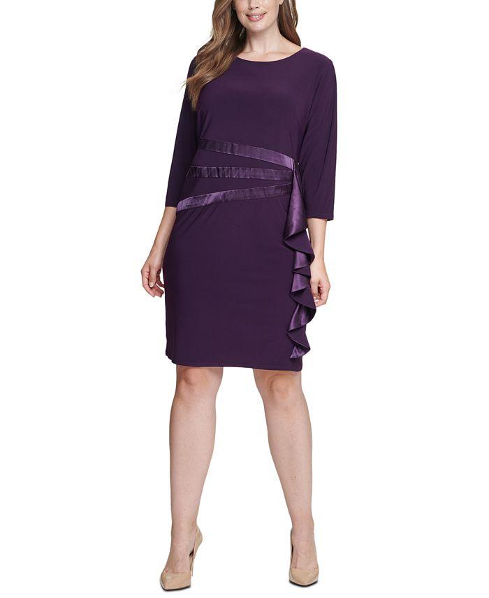 Jessica Howard - Plus Size Satin-Ruffle Sheath Dress