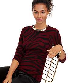 Charter Club Cashmere Zebra-Print Sweater, Created for Macy's