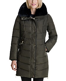 Faux-Fur Collar Down Puffer Coat, Created for Macy's