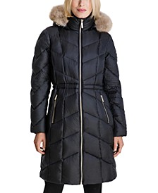 High-Shine Faux-Fur-Trim Hooded Down Coat, Created for Macy's