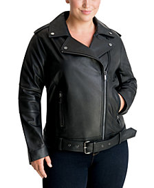 Michael Michael Kors Plus Size Leather Moto Jacket, Created for Macy's